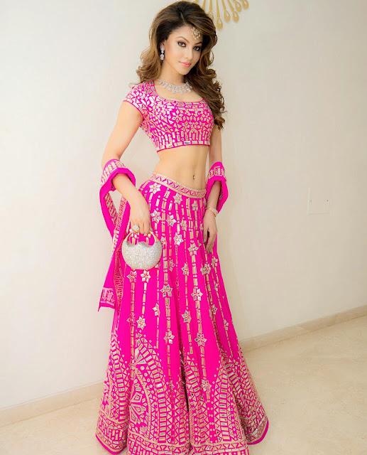Urvashi Rautela Pink Lehenga Choli Bridal Wear | Other HQ Pics