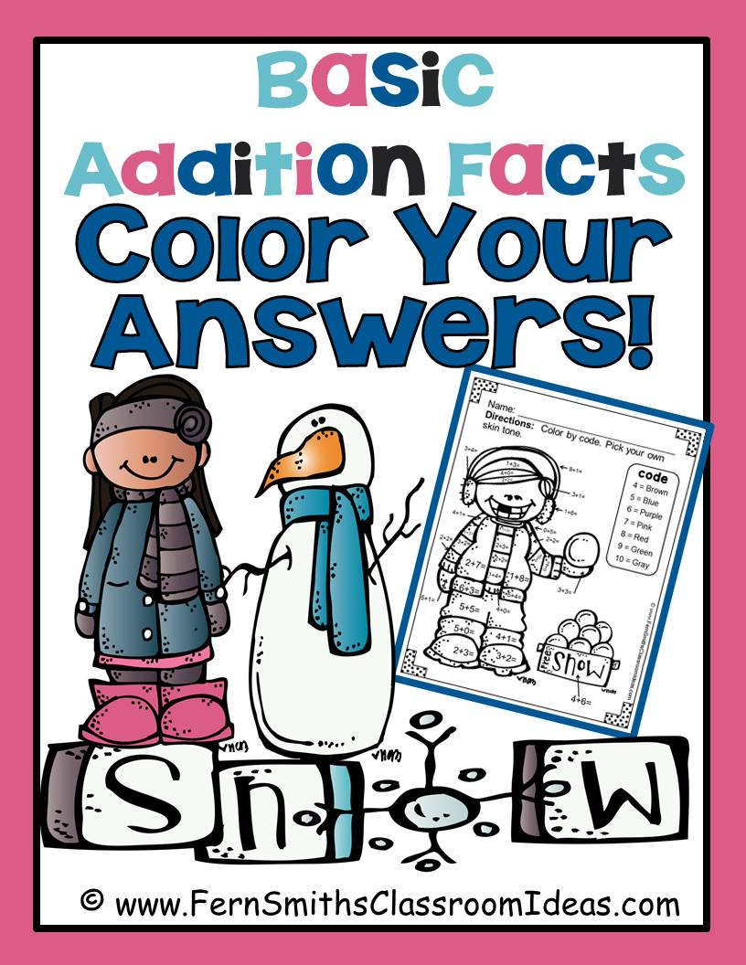 Winter Fun! Basic Addition Facts - Color Your Answers Printables