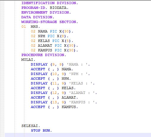Bahasa Pemrograman Cobol Dan Contoh Program Informatic