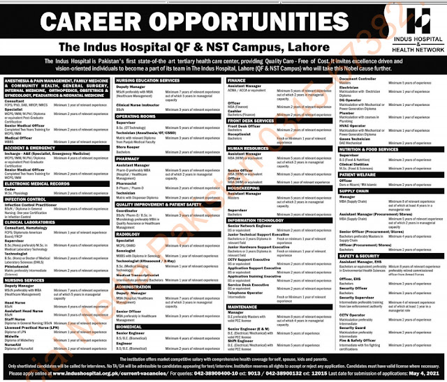 private hospital jobs in lahore