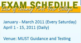 MUST Mindanao University of Science and Technology exam schedule