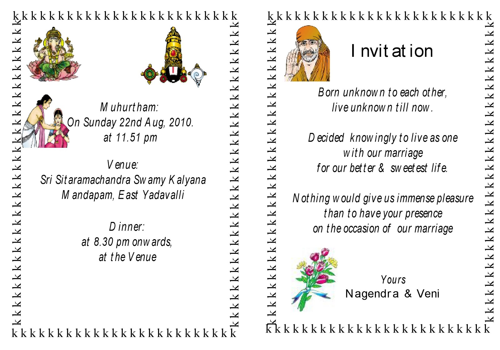Wedding Invitation Matter Hindu English Sample Refference Letters