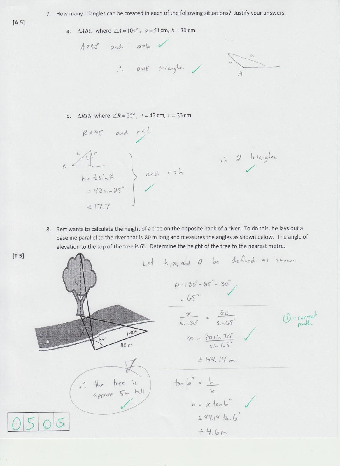 Grade 11 Trigonometry Tests