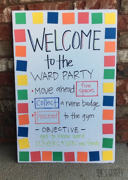 Game Night, Ward Party, welcome sign, ideas for invitations, food, decorations and games