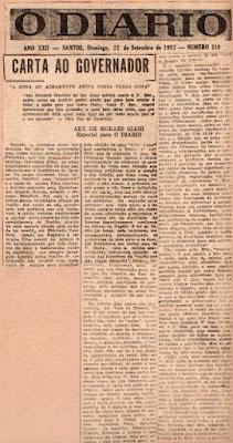 """Ary Giani cobra do governador Jânio Quadros melhoramentos para o Vale do Ribeira. (""""O Diário"""", de Santos, de 23-9-1957)"""