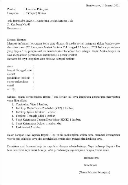 Contoh Surat Lamaran Pekerjaan Untuk Kasir (Fresh Graduate & Berpengalaman)