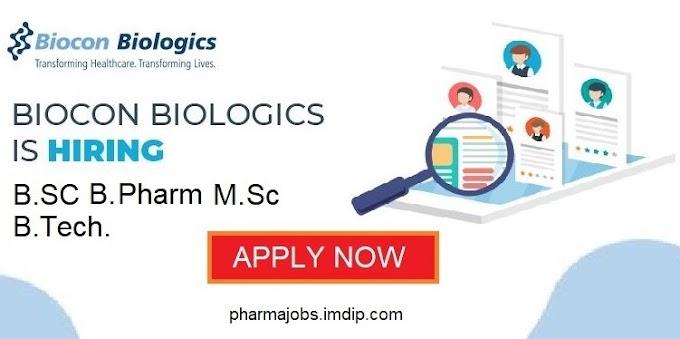Biocon Biologics is hiring B.SC., B. Pharm, M. Sc., B.Tech. March,2020