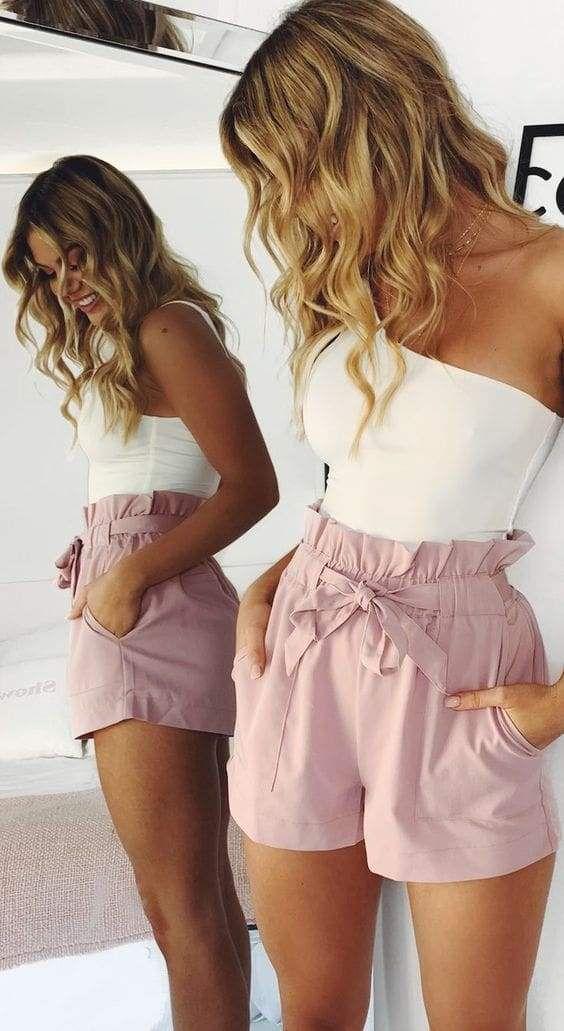 outfit short con nudo - blusa blanca