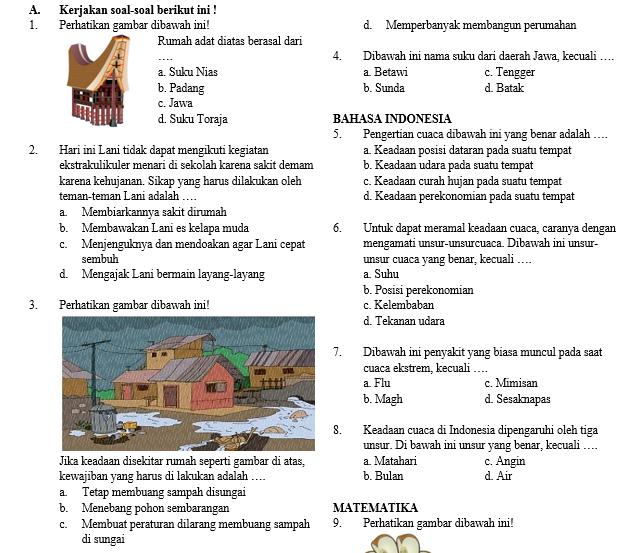 Soal Semester Tema 5 Kelas 3 SD/MI