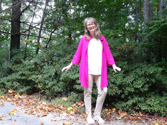 magenta kimono with monochrome top and pants