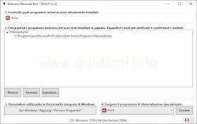 Interfaccia di Antivirus Removal Tool