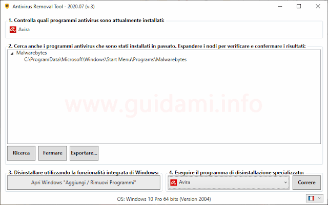 Interfaccia di Antivirus Removal Tool