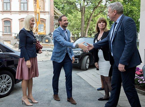 Crown Prince Haakon and Crown Princess Mette-Marit attended the opening of the Blue Cross children's station (Barnas Stasjon, Blå Kors) in Oslo