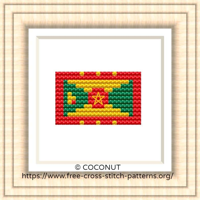 NATIONAL FLAG OF GRENADA CROSS STITCH CHART