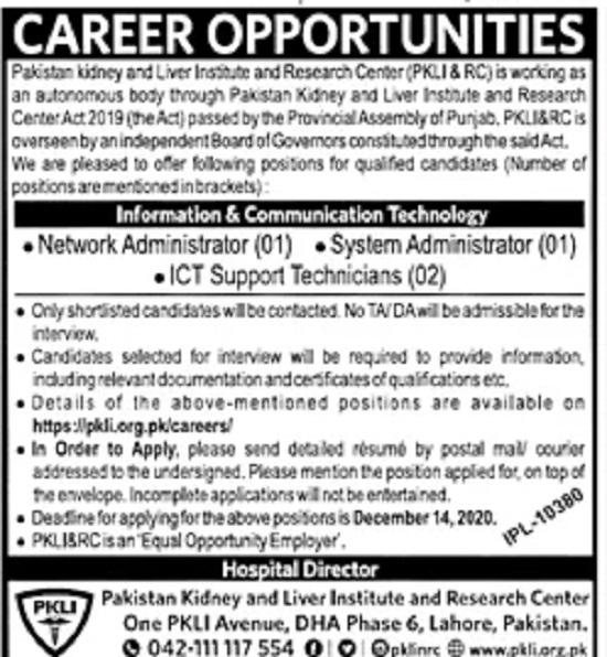 pakistan-kidney-liver-institute-research-centre-pklirc-lahore-jobs-2020