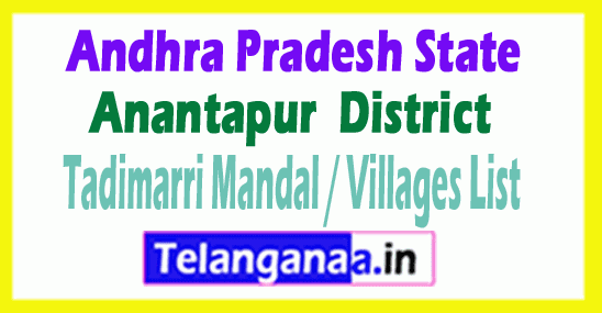 Tadimarri Mandal Villages Codes Anantapur District Andhra Pradesh State India
