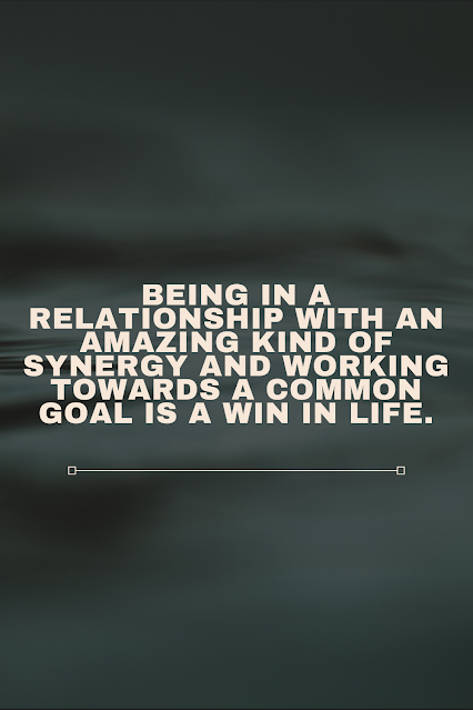 being in a relationship with an amazing kind of synergy and working towards a common goal is a win in life.