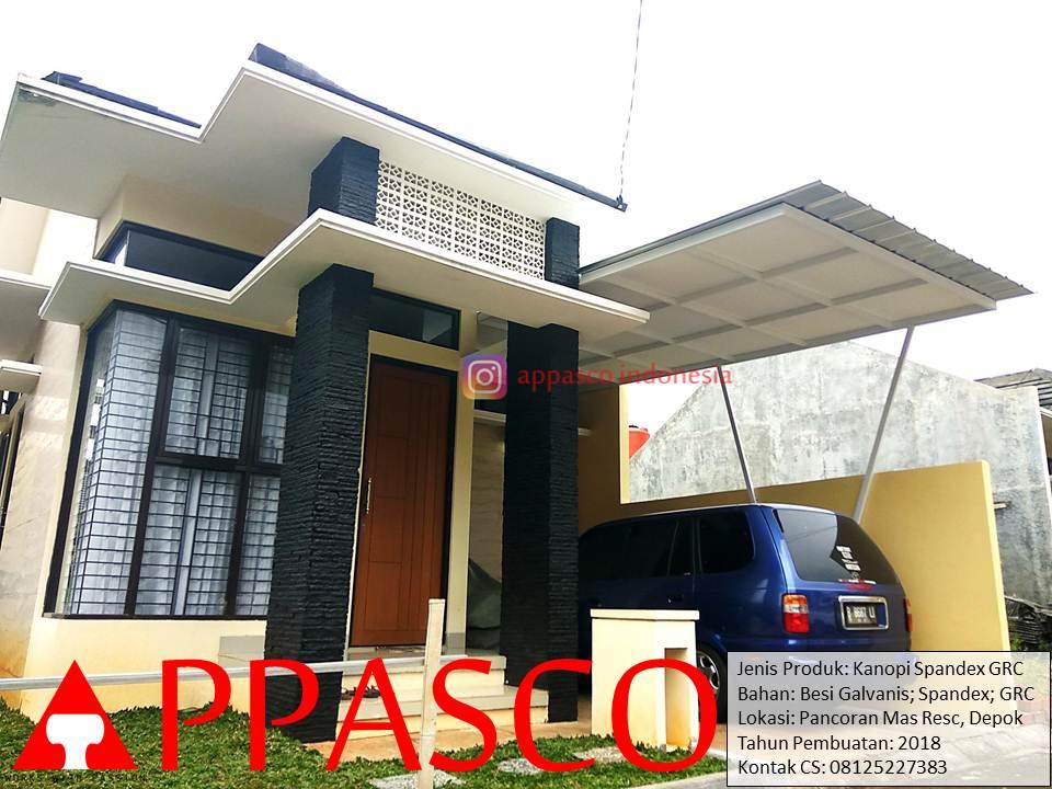 Kanopi Spandek GRC Minimalis di Pancoran Mas Depok