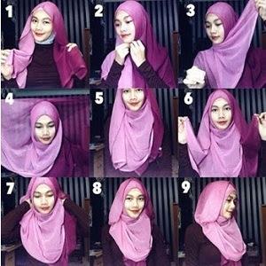 tutorial hijab 2 kerudung segi empat