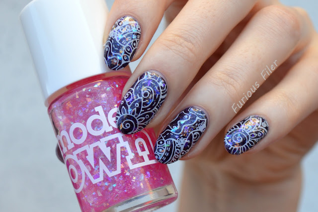 stamping shangri-la holographic nails purple glitter a england