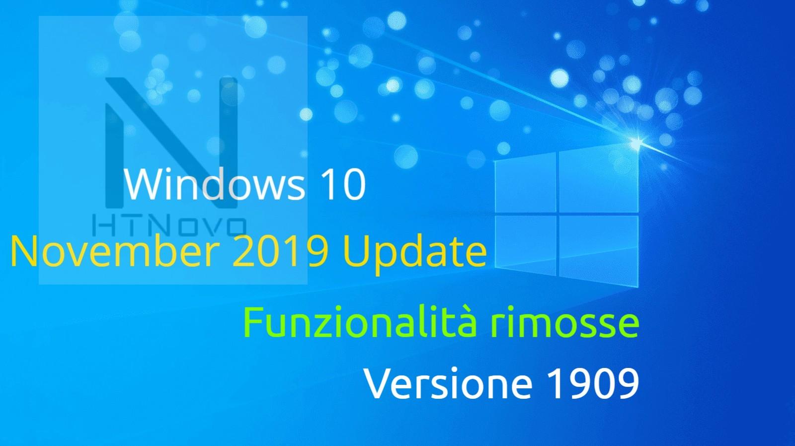Funzionalità rimosse in Windows 10 Versione 1909