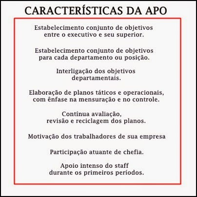 Características da administração por objetivos