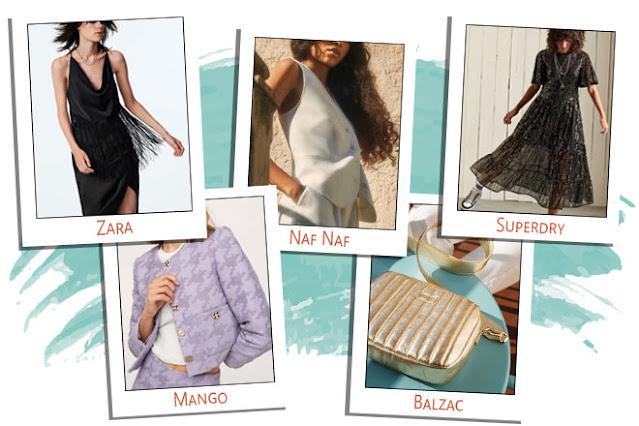 top à franges zara, veste lilas mango, sac doré balzac, veston blanc naf naf, robe à sequins superdry