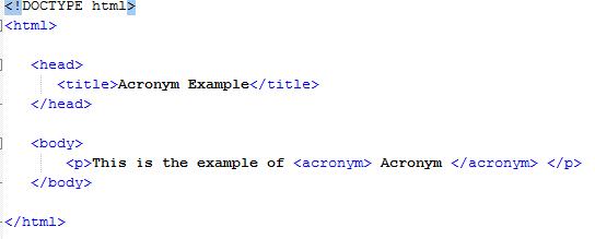 HTML Acronym Element