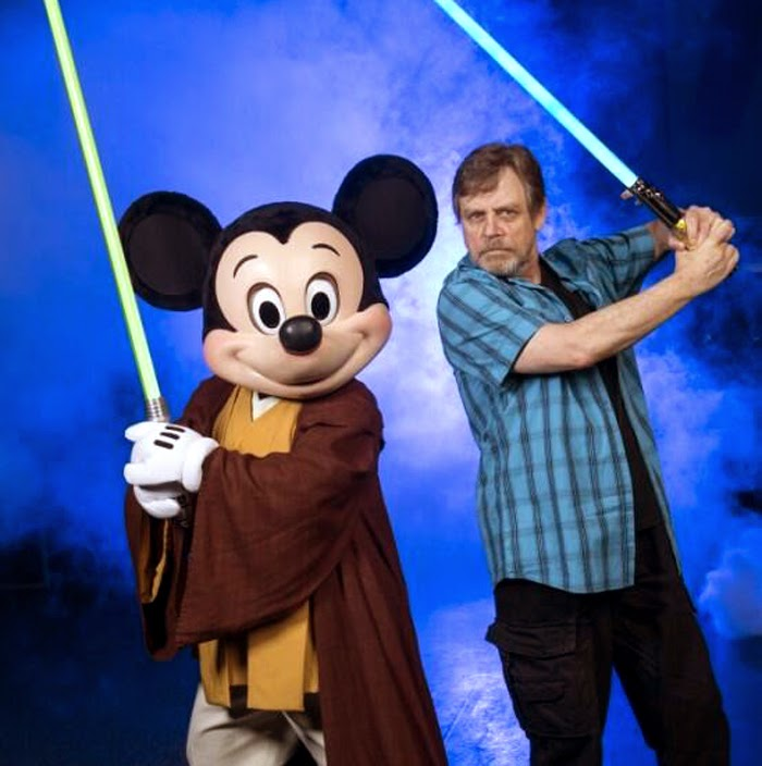 Mark Hamill (Luke Skywalker) şi Mickey Mouse Jedi la Disney World