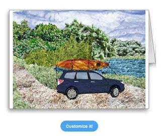 """""""Paddling Day"""" car with kayak at lake art photomontage Card"""