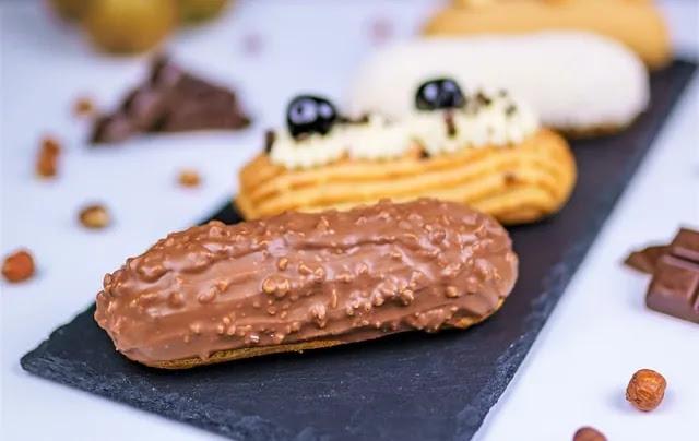 aprende ingles eclair pastel alargado cobertura chocolate