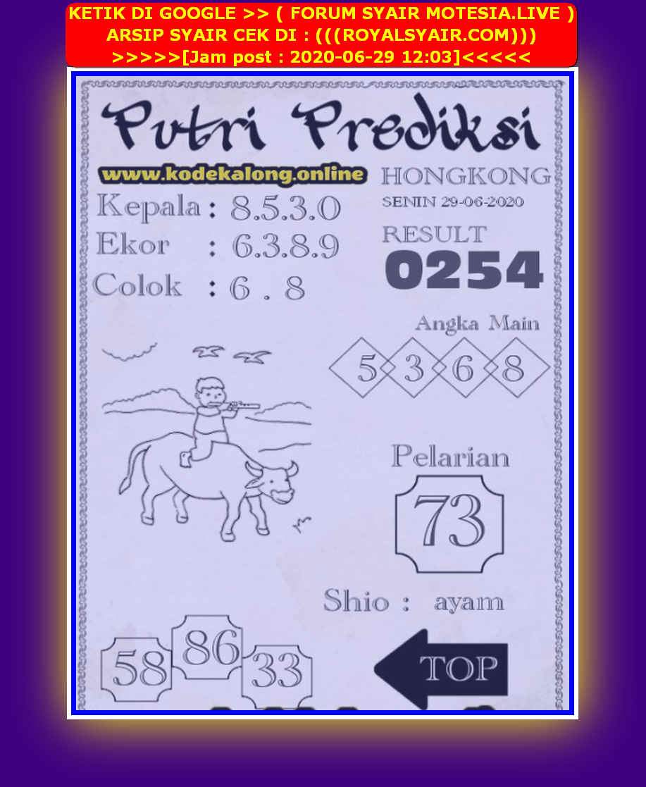Kode syair Hongkong Senin 29 Juni 2020 266