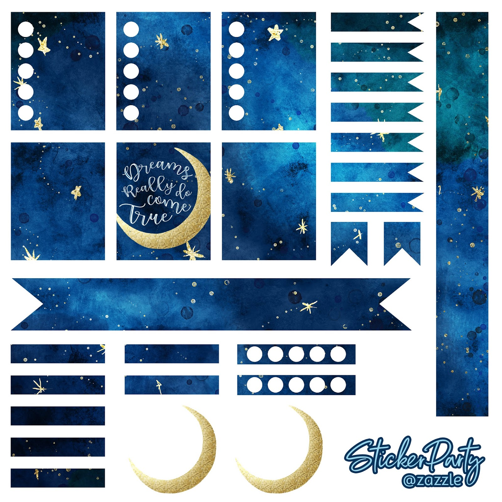 Free navy Blue Moon and Stars Celestial Galaxy Planner Sticker Sheet for ECLP vertical planners