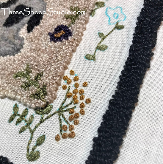 Hand embroidery with Punch Needle by Rose Clay at ThreeSheepStudio.com