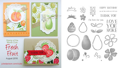 Stampin' Up! Fresh Fruit card kit for August 2016 Stamp of the Month Club by Julie Davison www.juliedavison.com/club