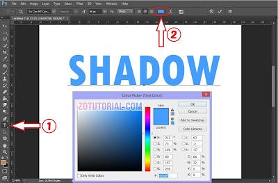 Membuat Efek Shadow di Dalam Tulisan Menggunakan Photoshop | Color Picker