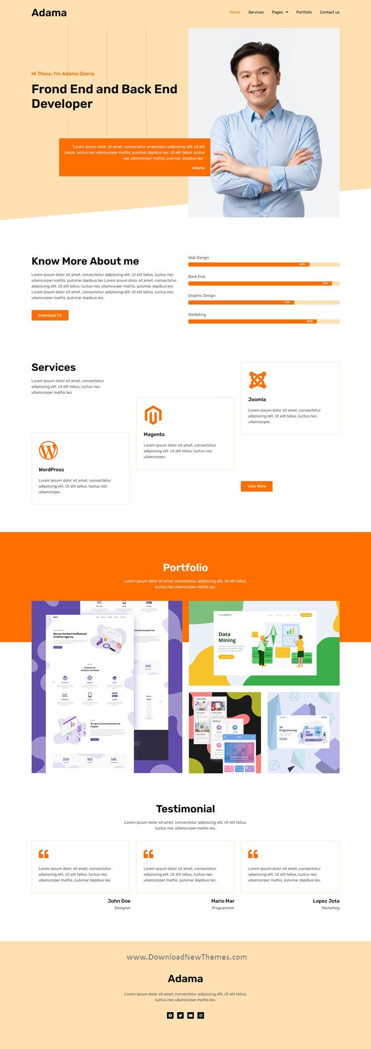 Personal Portfolio & Resume Elementor Template Kit