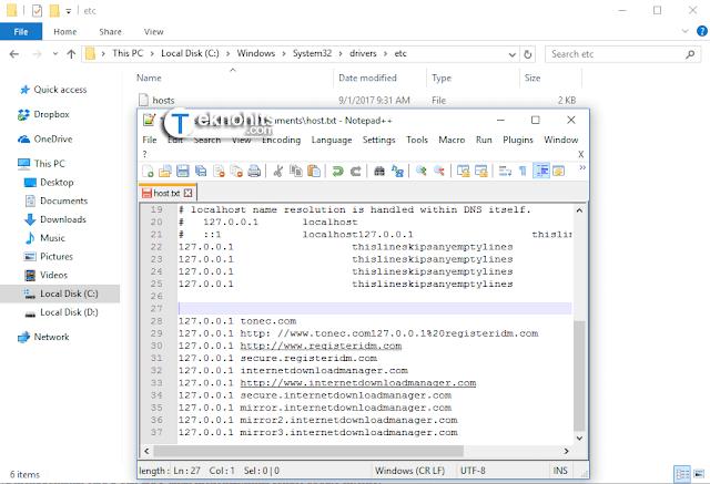 Mengedit Host File untuk memblokir pembaruan IDM