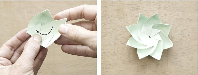 2 Anleitungsbilder zum Falten eines Tangramisternes