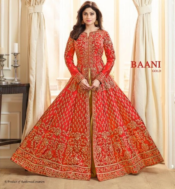 Aashirwad Baani Gold Indo Western Anarkali Gown Wedding collection