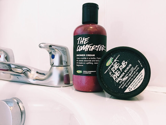 lush comforter shower cream and rub rub rub shower scrub