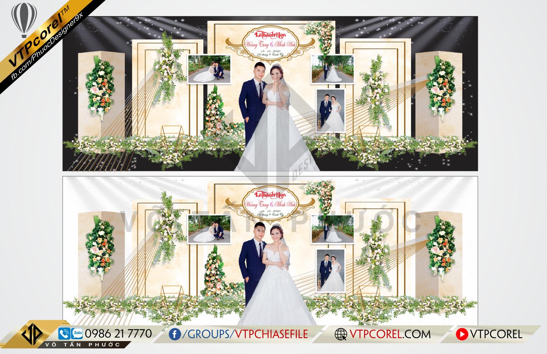 Mẫu Phông cưới hiện đại hoa lá dễ thương