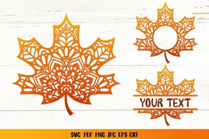 Maple Leaf Mandala SVG,Maple Leaf Monogram SVG,Fall SVG