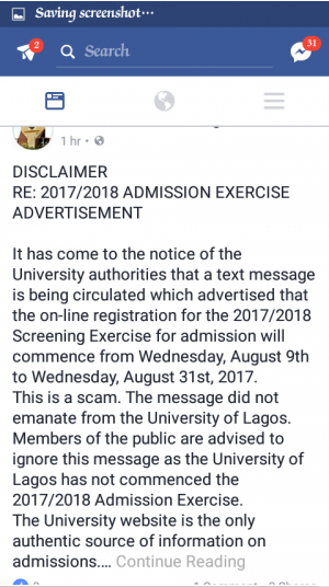 UNILAG Disclaimer on Admission Screening Exercise 2017/2018