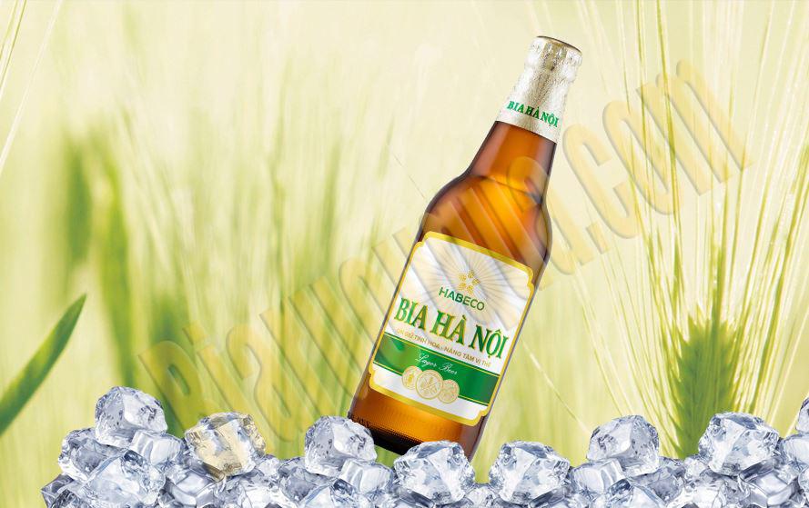 Bia chai Hà Nội nhãn xanh