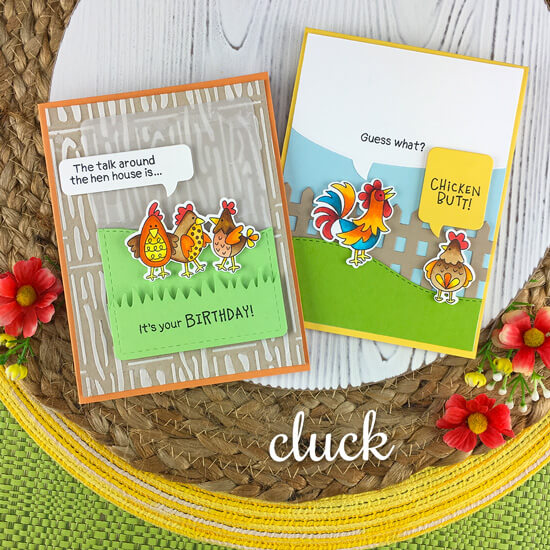 Chicken Cards by Jennifer Jackson | Cluck Stamp Set, Fence Die, Land Borders Die Set, Speech Bubble Die Set and Hardwood Stencil by Newton's Nook Designs #newtonsnook #handmade