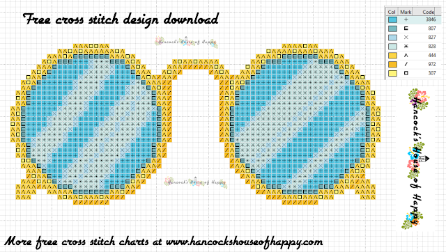 Free steam punk cross stitch pattern for a pair of gold spectacles. Cross Stitch Pince Nez