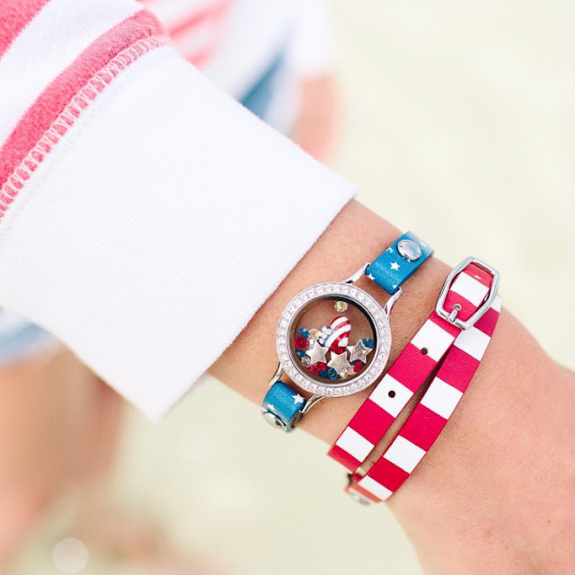 Origami Owl Patriotic Leather Wrap Bracelets available at StoriedCharms.com