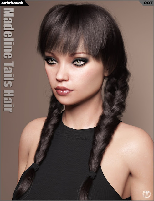 Madeline Tails Hair for Genesis 3 and 8 Female