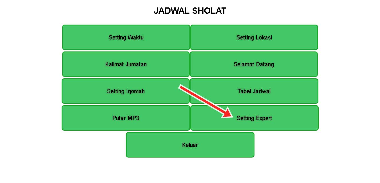 Membuat Jws Jam Waktu Shalat Esp Wifi P475 P10 Seven Segment All Controller Jadwal Sholat Digital Android Gambar 1 Cara Membuka Setting Expert